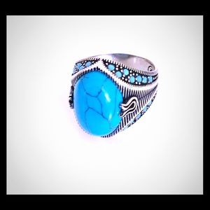 Turkish Blue Copper Oval Ring 925 Sterling Silver
